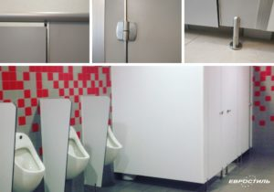Туалетные перегородки из HPL с нержавеющей фурнитурой